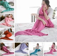 Wholesale 7 Colors Mermaid Tail Blankets Mermaid Sleeping Bags Cocoon Mattress Knit Sofa Blankets Sleeping Bag Air Condition Blankets For Kids PPA495