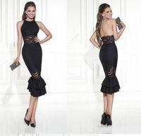 coral negro para la venta al por mayor-Nuevo diseño de una línea de vestidos de noche cortos de apertura de color negro fiesta de baile con cordones vestido veatidos de festa Venta caliente