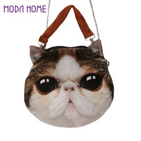 Wholesale Cat Head Handbag - Wholesale-Cute Women Crossbody Bag Animal Cat Dog Head Print Handbag Zipper Mini Shoulder Bag 2016 Bolsos Women Totes Bag