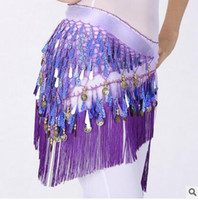 Wholesale Tassel Belly Dance Scarf Wholesale - Lavender Belly Dance Costume Dancing 3 Rows Hip Skirt Scarf Wrap Belt Hipscarf with 128 Coins Bellydance waist chain Dancing Skirts