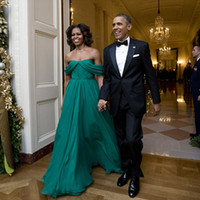 Wholesale Michelle Obama Fashion - Michelle Obama First Lady Evening Dress Chiffon Hunter Green Cheap Prom Dresses Long Off the Shoulder Formal Dress vestido longo