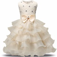 Wholesale 2017 Fashion Girls Wedding Princess Dress Winter Formal Gown Ball Flower Kids Clothes Children Clothing Party Girl Dresses