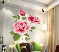 Wholesale Large Rose Wall Decal - Fashion Removable Vinyl Decal Rose Flower DIY Home Decor Wall Sticker