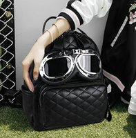 Wholesale Factory Pilots - Factory wholesale brand handbags and fashion diamond woman backpack backpack leisure style pilot personality trend glasses Leather Satchel