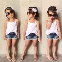 Wholesale Girls Jeans Tank Top - Wholesale- 2016 kids girls sets clothes Vest Set Short T-shirts+Jeans Pants Tracksuit For Girls Baby Sets Summer Children Tank Top Clothes