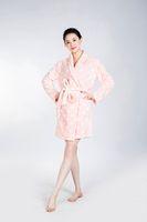 Wholesale Wholesale Polka Dot Pajamas - The PINK Bathrobe Women Pajamas Hotel SPA for Women Coral Fleece Coral Cashmere Nightgown Sleepwear Bath Towels