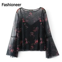 Wholesale Long Loose Blouses For Women - Fashioneer Shirts For Woman O Neck Flare Long Sleeve Mesh Two Pieces Sheer Loose Floral Printed Summer Tops Blouse For Women Lady S-L Size