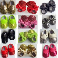 Wholesale Bling Shoes Girls - 2017 kids shoes baby shoes newborn PU leather moccasins shoes girl shoe toddler boys sequin first walker infant bow tassel shoe wholesale