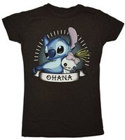 Wholesale Cheap Banners - Women's Lilo And Stitch Scrump Ohana Banner Juniors Cotton Print Short Sleeve Tees Summer Casual Cute Funny T Shirts Cheap sold