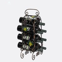 nuevo Wine Rack Retro ratán de la uva Bar Wine Shelf Wall Holder 7 botella Estilo de Europa Hojas Creativas vides Diseño Iron Art Vintage al por mayor