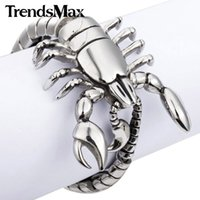 Wholesale mens wide stainless steel bracelets - Wholesale-Trendsmax 49mm Wide 316L Stainless Steel Scorpion Animal bracelet Mens Boys Chain Bangle Bracelet Wholesale Jewelry HB76