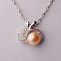 Wholesale Sterling Silver Apple Pendant - Female simple s925 sterling silver temperament fashion wild natural pearl pendant necklace apple chain clasp authentic