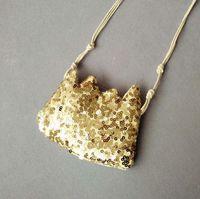 pequeñas coronas de oro al por mayor-Cruzado Eco-Friendly partido de los niños Cool Bag plata de las lentejuelas de oro de la franja Corona niños bolsa de mensajero del arco bolsas Pequeño bolso de la moneda monedero glitte