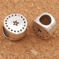 Charms Hole Star Pas Cher-Dots Star Round Big Hole Beads 105pcs / lot 10x10x6.5mm Antique Silver Fit European Charm Bracelets Bijoux DIY L1444