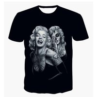 Wholesale Womens Sexy Skull Shirts - Wholesale- Alisister sexy Marilyn Monroe t shirt for men women Dia De Los Muertos clothing 3D print skull t-shirt womens party tshirt tops