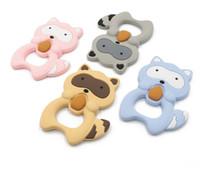 waschbär anhänger großhandel-Niedliches Eichhörnchen-Form-Silikon-lustiges Baby-Beißring-Silikon-Zahnen-Waschbär-Anhänger BPA geben Baby-Kauen-Spielzeug-Silikon-Korn-Karikatur-Krankenpflege frei