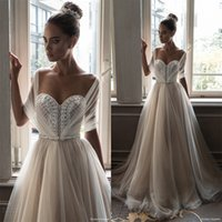 Wholesale Half Camo Long Sleeve - illusion half sleeves vintage jewellery beaded bodice ball gown wedding dresses 2018 elihav sasson chapel train wedding gowns
