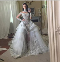 Wholesale mermaid detachable wedding dresses - Fantacy Luxury Crystal Wedding Dresses With Detachable Over-skirt High Neck Long Sleeves Beaded Applique 2018 Wedding Gowns Bridal Dress