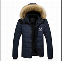Wholesale Detachable Raccoon Collar - AD The winter men's cotton coat raccoon fur collar hooded casual coat size male cashmere plus thick jacket factory outlets