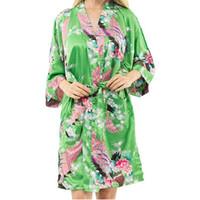 grünes nachthemd großhandel-Wholesale- neue Ankunfts-Grün Female gedruckte Blumen Kimono-Kleid-Kleid chinesische Art Rayon Robe Nightgown Blume S M L XL XXL XXXL 20160415