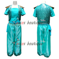 Wholesale Mardi Gras Short Dresses - shine cosplay costume women adult princess dress up green costume shimmer fairy tale party suit with earing and necklace