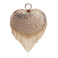 Wholesale Heart Shaped Wallet Purse - Wholesale Women's Heart Shape Gold Fully Beaded Bridal Party Clutch Prom Evening Bags Purse Wallet Night Club with Shoulder Chain Makeup Kit