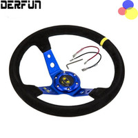 Wholesale Suede Steering Wheels - Modified steering wheel Suede leather automobile race steering wheel ID= 14'' 350 mm PT-FXP02OM Car Modification