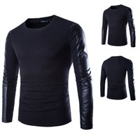 Wholesale Pu T Shirts - Men's PU leather patchwork splice long-sleeved T-shirt Male Cotton T shirt Black Casual Tops camiseta Plus Size Free Shipping