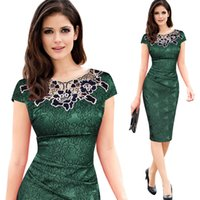 Wholesale Women S Wear Fabric - Womens embroidery Elegant Vintage Dobby fabric Hollow out embroidered Ruched Pencil Bodycon Evening Party Dress