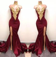 ingrosso altezze della cosce burgundi-Borgogna Prom Dresses 2019 Gold Lace Appliqued Mermaid coscia alta Split Long Party Abiti da sera 2K17 Cheap Formal Party Wear