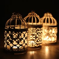 Wholesale Metal White Holder Tealight Candlestick Hollow Hanging Lantern Bird Cage Vintage Wrought Candle Holders