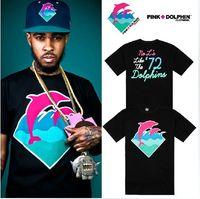 Wholesale Pink Dolphin Leopard - Pink Dolphin t-shirt summer fashion hip hop tee cotton men blouse skateboard t shirt Rock tops shirts leopard S-XXXL
