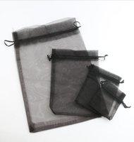 Wholesale Black Organza Jewelry Bags - MIC 100pcs Black 4 sizes Organza Jewelry Gift Pouch Bags For Wedding favors,beads,jewelry Hot sell