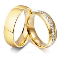 anel de banda de cristal de linha venda por atacado-50 pcs Mix de Ouro 6mm Banda e Uma Linha de Cristal de Strass CZ Anéis de Aço Inoxidável Atacado Homens Mulheres Moda Jóias Lotes Bom para revenda