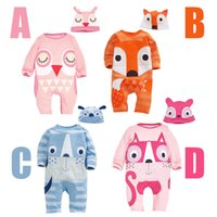 Wholesale Owl Kids Clothes - New autumn Baby fox owl Romper Long sleeve cartoon cat dog Jumpsuits kids Animal shape climbing clothing with hat C2500