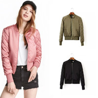 Wholesale Thin Quilted Jacket - Autumn Europe Women's Crew Neck Quilting Quilted Jacket Short Thin Padded Bomber Jacket Coat Pilots Outerwear Tops Coats 9 Colors C3070