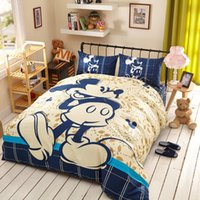 Wholesale Minnie Mouse Queen Comforter - Cotton Mickey Minnie mouse bed bedding set cartoon comforter duvet cover sets 3 4 5pcs twin queen king kids bed sheet linen