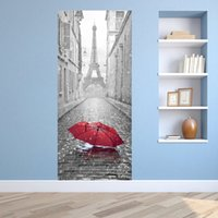 Wholesale eiffel tower wall decor - 3D Eiffel Tower Door Mural Sticker Wet Umbrella By Rain Stickers Decorative 3D Door Mural Decal Large Size 77*200cm Building Home Decor