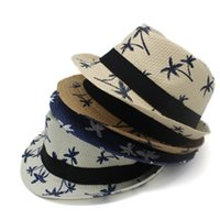 Wholesale Boys Fedora Hats Wholesale Straw - Maple Leaf Print Jazz Caps Hats for Men Women Children Fashion Fedora Straw Hats Fitted Campaniform Boys Girls Beach Sunhat