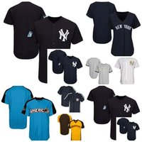 Wholesale Ny Children - 2017 Customized All-star retirement patch Male Female Children NY Yankees Throwback Flex Cool baseball Jerseys Grey White Blue Beige XS-6XL
