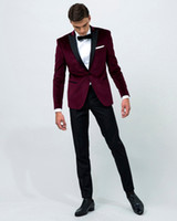 Wholesale Cheap Blue Fitted Blazer Men - 2018 Mens Suits Big Size Tuxedos Burgundy Custom Made Two Pieces Cheap Wedding Suits For Men Blazer New Arrival Mens Clothing Red Carpet