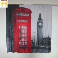 Wholesale Vintage Red Telephone - 180*180Cm Shower Curtains Bath Curtain London Street Vintage Red Telephone Booth Bathroom Shower Curtains Waterproof Mildew Proof