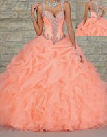 Wholesale Long Barato - 2017 HOT New Beaded Long Prom Ball Gown Quinceanera Dresses Custom Size Vestido Debutante 15 Anos Barato