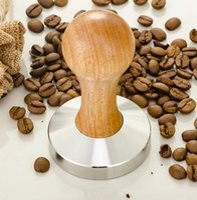 Wholesale Wood Salt Pepper Grinders - New Stainless Steel 58mm wood handle Coffee Tamper Barista Espresso maker Grinder Handmade