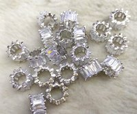 Wholesale Wheels Micro - 12pcs white silver Micro Pave Cubic Zirconia Beads 10mm Cilinder Beads Baget CZ Pave Beads Jewelry Spacer Diamond wheel heishi finding