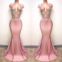 Wholesale Beaded Spaghetti Strap Evening Dress - Stunning Pink Sexy Backless Prom Dresses 2017 New Mermaid Spaghetti Straps Appliqued Beaded Long Train Party Evening Gowns Custom Made