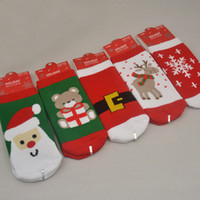 niños calcetines de navidad de algodón al por mayor-1-3 años Algodón Primavera Otoño Otoño Bebé Niñas Niños Niños Calcetines Niños Rayas Terry Copo de nieve Elk Papá Noel Navidad Oso