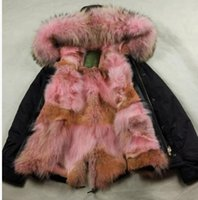 Wholesale Detachable Coyotes fur Liner MR MRS FURS ITALY MINI PARKAS HOODED WITH REAL RACCOON FUR COLLAR
