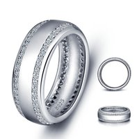 Wholesale Pure Stone Silver Ring - Shardon Luxurious wedding rings s925 pure silver ring smooth surface with zircon stone for men and women