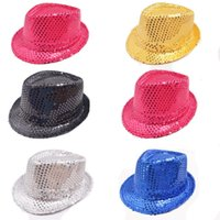 Wholesale Sequined Hats Wholesale - Children's primary school stage performance sequined hat adult performance jazz hat kindergarten dance party festive carnival hat